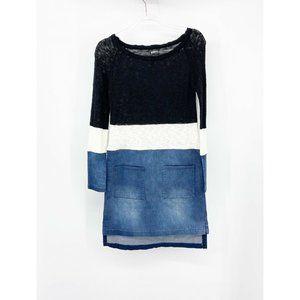 Venus Color Block Denim Lightweight Sweater Dress